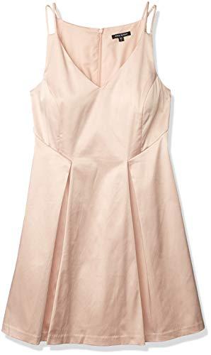 PARIS SUNDAY Vestido de satén sin Mangas con Escote en V para Mujer, Rosado, Large