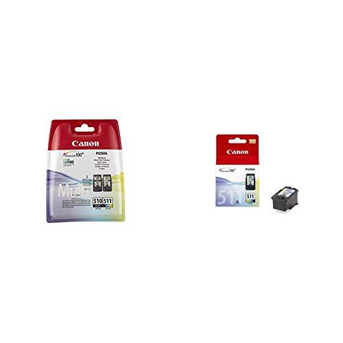 Canon 2970B010AA Cartuchos de tinta BK+Tricolor para Impresora de Inyeccion de tinta Pixma + Cartucho de tinta original de 3 (2972B001 / CL-511)