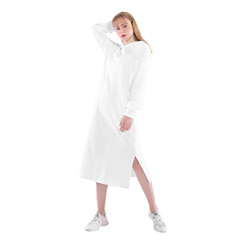 Germinate Longue Robe Sweats à Capuche Femme Hiver Chic Vintage Maxi Pull Hoodie Sweat-Shirt Pullover Grande Taille (Blanc, Large)