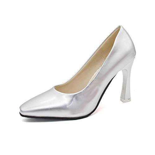 Frauen Square Toe High Heels Frühling Herbst Slip auf Pumps Classics Lackleder Brautkleid Schuhe