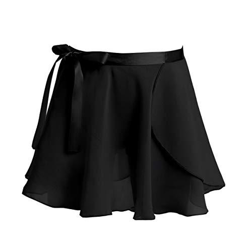 iEFiEL Kinder Ballett Wickelrock aus Chiffon Mädchen Ballettrock Mini Rock mit Taille Krawatte Tanz Sport Übung Kleider in Schwarz Rosa Weiß Weinrot Schwarz 104-110
