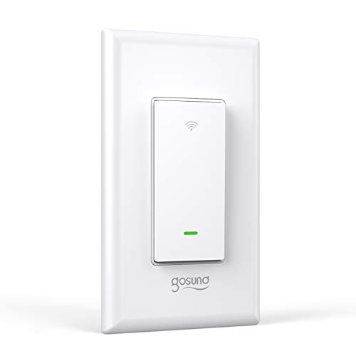 Smart Light Switch, Gosund 2.4Ghz WiFi Light Switch Works with Alexa, Google Assistant, Remote Control/Voice Control and Schedule, Neutral Wire Required, Single-Pole, No Hub Required