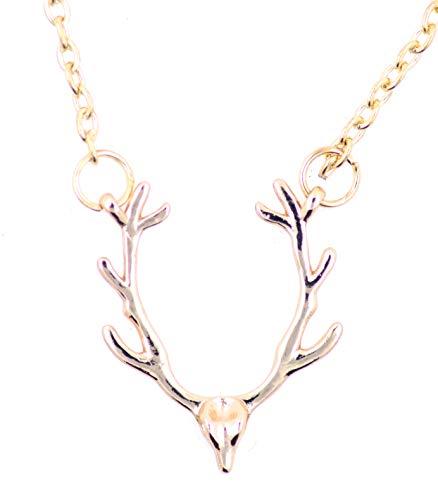 Lizzyoftheflowers - Gold Tone Stag/Reindeer Head/Skull Antler Ketting, hertengewei