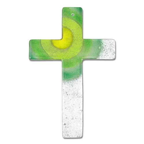 Glaskreuz Wandkreuz Sonne grün weiß modern 20 x 13 x 0,5 cm - Schmuckkreuz - Handarbeit