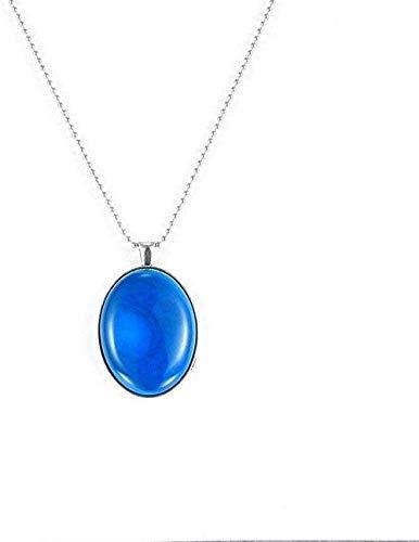 ZGYFJCH Co.,ltd Collar de Moda Collares Pendientes de Piedra para Mujer Vintage Grande Ovalado Piedra Natural ónix Azul Colgante Collar Cadena de Plata joyería Regalo