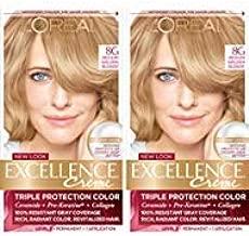 L'Oréal Paris Excellence Créme Permanent Hair Color, 8G Medium Golden Blonde, 2 COUNT 100% Gray Coverage Hair Dye