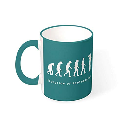 Tentenentent Taza de cacao con diseño de evolución de las bebidas fotográficas, taza con asa, cerámica lisa, humor Mug – fotógrafo, regalo de Navidad, traje para casa 330 ml