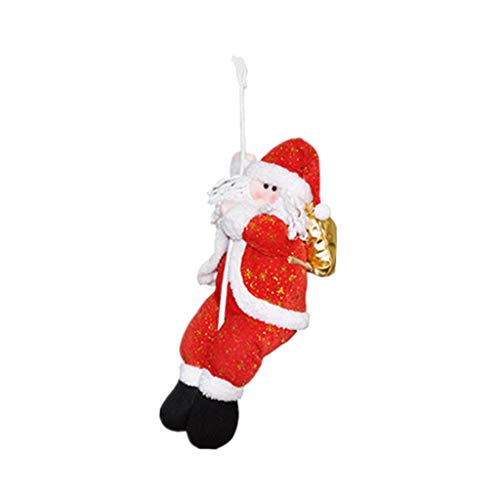 Fine Santa Claus Climbing on Rope Ladder for Christmas Tree Indoor Outdoor Hanging Ornament Decor Christmas Xmas Party Home Door Wall Decoration (B)