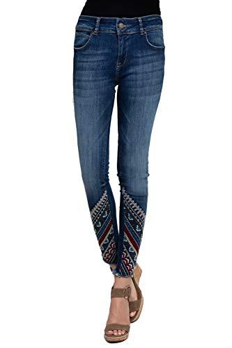 Zhrill Damen Jeanshose 7/8 Vintage 5 Pocket Slim Fit Cindy 7/8, Farbe:W7071 - Mit Stickerei Am Saum, Größe:W28 / L30