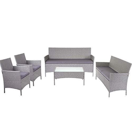 Mendler 3-2-1-1 Poly-Rattan Garten-Garnitur Halden, Lounge-Set Sitzgruppe Sofa - grau, Kissen anthrazit