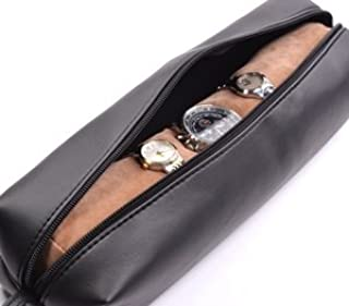 Cosmos ® Black Color PU Leather Watch and Bracelet Travel Storage Roll Bag with Brown Removable Tube Velvet holder