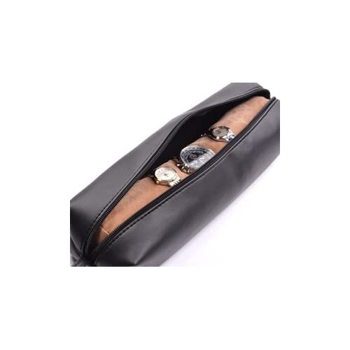e09a06e9f56 Cosmos ® Black Color PU Leather Watch and Bracelet Travel Storage Roll Bag  with Brown Removable