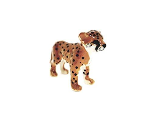 Cheetah Ceramic Figurines - Miniature Animal Ornament - Small Handmade Ceramic - Decorative Porcelain Animals - Collectable African Animals - Cheetah Cub Standing - Animal Gift Souvenir Memento