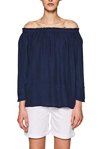 edc by ESPRIT Damen 039CC1F017 Bluse, Blau (Dark Blue 405), Medium (Herstellergröße: M)