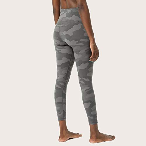 Yoga Pantalones Mujer,Camuflaje europeo y americano yoga nueve pantalones mujeres de doble cara estampado desnudo, pantalones de yoga de cintura alta, pantalones de fitness-gris oscuro_L / 10