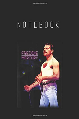 Notebook: Freddie Mercury Official Neon Mic Notebook College Ruled 6in x 9in x 115 Pages White Paper with Black Cover A Perfect Gift for Baby or Friends