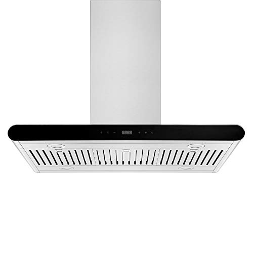 Empava 36 in. 500 CFM Island Range Hood Ducted Exhaust Kitchen Vent-Tempered Glass-Soft Touch Controls-3 Speed Fan-Permanent Filter LEDs Light in, Stainless Steel
