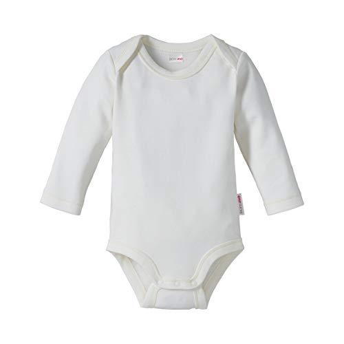 Bornino GOTS Body langarm - unifarbener Langarmbody aus reiner Bio-Baumwolle in Interlock-Qualität - mit Schlupfkragen & Druckknöpfen - weiß