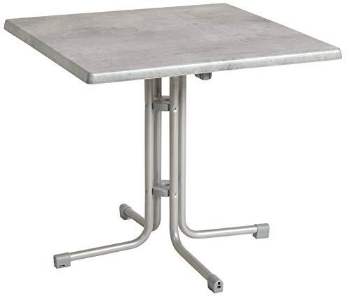 acamp Esstisch Gartentisch Bistrotisch 56683 Piazza 70x70 cm in Platin Cemento Grigio Topalit Tischplatte