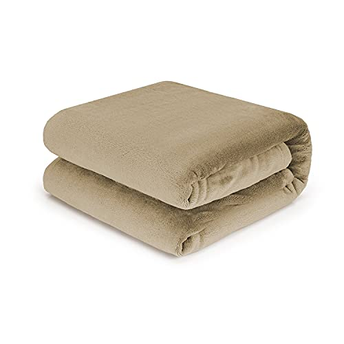 Tafts Überwurfdecken – Ultra Plüsch 320 g/m² weich, ultra bequem, flauschig & Plüschdecken Überwürfe für Couch, Bett und Wohnzimmer alle Jahreszeiten Decken King Size Nude Beige