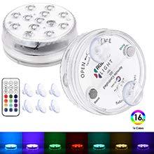 Magnetische wasserdichte LED-Tauchleuchten mit Saugnäpfen, Unterwasser-Whirlpool-Poolteich RGB-Licht mit Fernbedienung und Batteriebetrieb, Dekor für Badewanne, Dusche, Whirlpool, Spa, Party (2 Stück)
