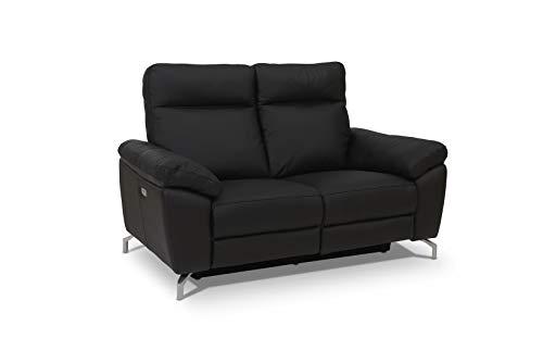 Ibbe Design Schwarz Leder 2er Sitzer Relaxsofa Couch mit Elektrisch Verstellbar Relaxfunktion Heimkino Sofa Doha mit Fussteil, Federkern, 162x96x101 cm