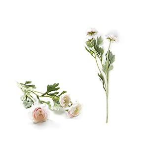 Artificial Flowers with Stems| Beautiful British Noble Royal Family Artificial Ranunculus Asiaticus Silk Flowers 3 Heads Dew Lotus Decoration Fake Flower A6840