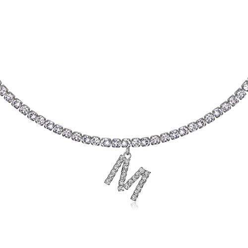 Initial M Necklaces for Women 14K White Gold Plated Cubic Zirconia Choker Silver Tennis Chain Letter Necklace Gift