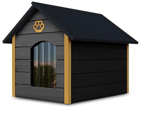 Novamat - Caseta para perros de madera - Casa acogedora y elegante para su perro con paredes aisladas - Resistente al agua - Tamaño XL (XL, marrón - blanco) (gris - amarillo)