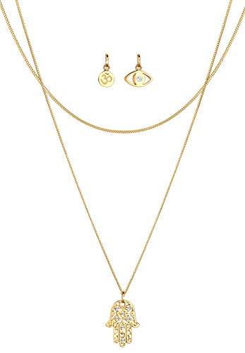 Elli Halskette Damen Anhänger Om Hamsa Hand Evil Eye in 925 Sterling Silber vergoldet