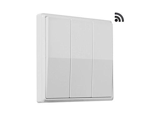 codalux Funkschalter / Lichtschalter E-Serie Wippe 3 Tasten weiss - kinetischer Funklichtschalter ohne Batterie - batterielos / piezo mit 5 Jahren Garantie