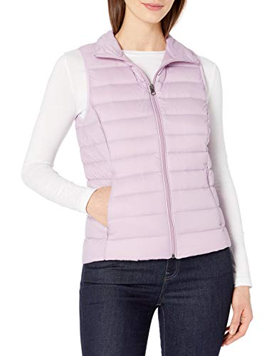 Amazon Essentials Women's Lightweight Water-Resistant Packable Down Vest, Purple, X-Small