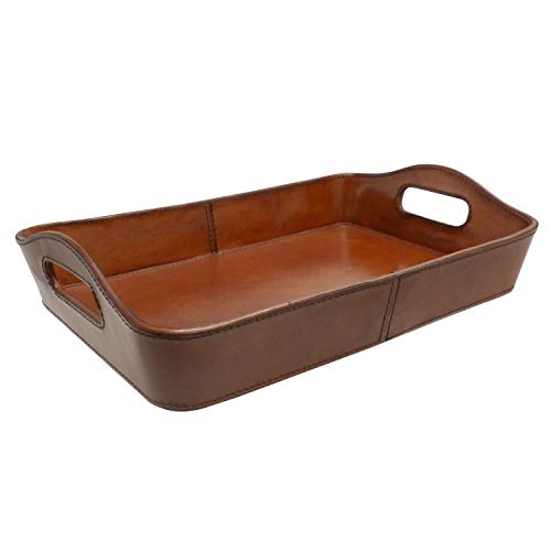 Bandeja de Cuero Rectangular con Asas Interiores, Color marrón. Medidas: 37,5 x 25,4 x 9 centímetros. Material: Cuero (Referencia: 2592278)