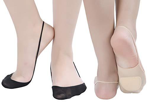 Zeltauto 4er-Pack Füßlinge Socken mit Fußpolster für Slingback Sandalen (Merhfarbig, EU 35-38)