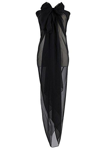 PB-SOAR XXL Damen Einfarbig Unifarben Sarong Pareo Strandtuch Wickelrock Wickeltuch, weich und leicht (Schwarz)