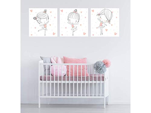 Oedim - Pack de 3 Cuadros Infantiles con Bailarinas, Cartón Ecológico, Diseño Elegante, Cantos Impresos, 40 x 40 cm
