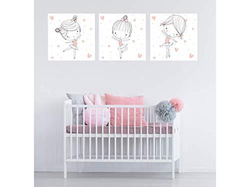 Oedim Pack de 3 Cuadros Infantiles Cartón Ecológico Bailarinas | 40 x 40 cm | Decoración Habitación Diseño Elegante | Cantos Impresos |