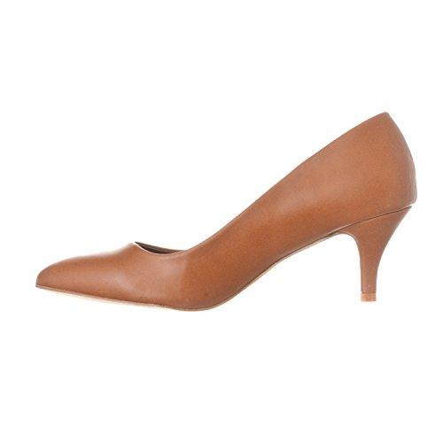 Riverberry Women's Katy Pointed, Closed Toe Low, Kitten Heel Pumps, Brown PU, 6.5