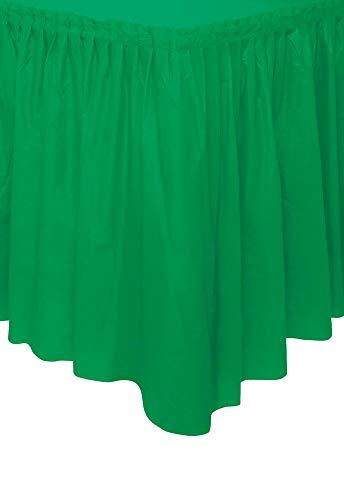 Unique Party- Falda de mesa de plástico, Color verde esmeralda, 420 cm (50060)