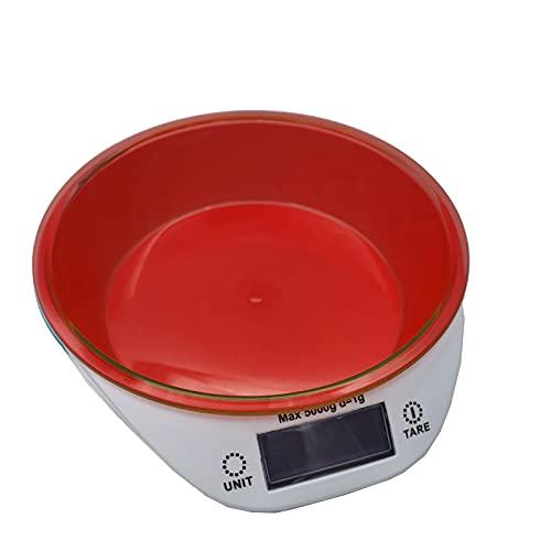 EUROXANTY Balanza Electrónica de Cocina | Hasta 5 Kg de Capacidad | Báscula de Cocina con Bol | Con Pilas | Varias Unidades de Medida | Rojo |