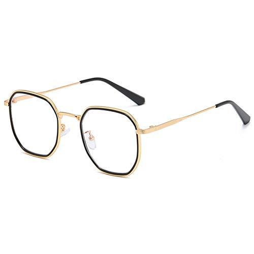ZZOW Gafas De Sol Cuadradas Retro para Mujer Ins Moda Popular Anti-BLU-Ray para Hombres Marco De Anteojos De Metal Lentes Ópticos Transparentes Uv400