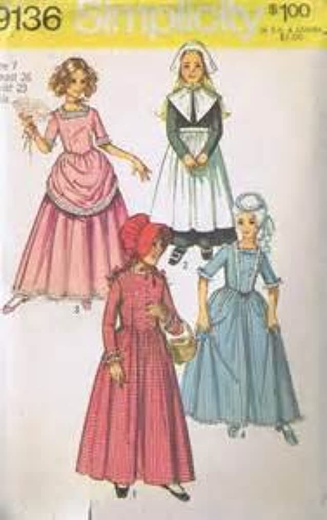 Simplicity Vintage Girls Dress Costume Pattern - 9136 - Puritan, Centennial, 18th and 19th Century Dress Costumes