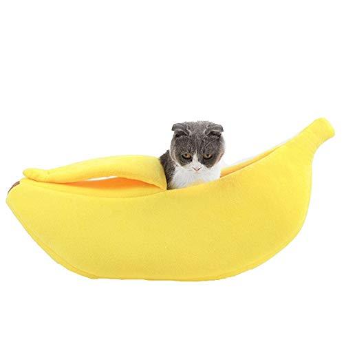 ASR Cuccia a forma di banana per animali domestici, per gatti, cani, conigli, criceti, per interni ed esterni, colore: giallo, rosa (40 x 15 x 10 cm), A)