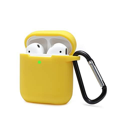 KOKOKA Funda AirPods Silicona Compatible con AirPods 2 & 1 (LED Frontal Visible) - [Funciona con Carga inalámbrica] [Extra protección] [sin complicaciones] - Amarillo