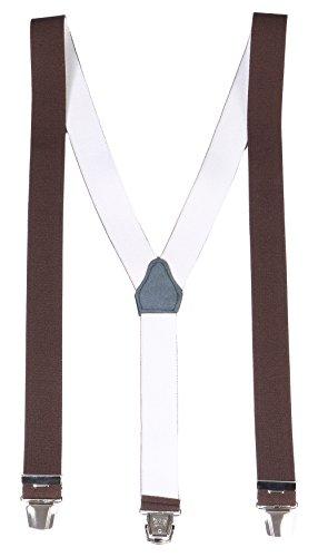 FASHION YOU WANT Herren Damen Long Hosenträger Y Form Style 3er Clips elastisch Schmal Unifarbe und Bunt mit verschiedenen Motiv (3er braun)