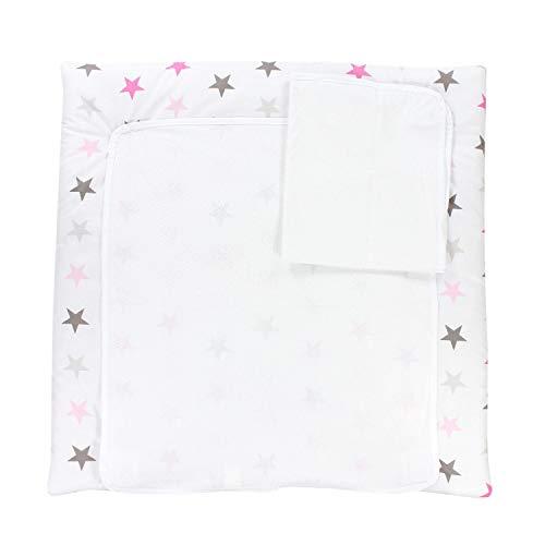 TupTam Colchón para Cambiador con 2 Fundas Der Rizo, Bebé, Estrellas Rosa Gris, 70 x 50 cm