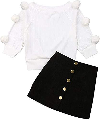 2 Stück Kleinkind Baby Mädchen Langarm Ball Strickpullover Top + Knopf Bleistift A-Linie Rock Set Herbst Winter Kleidung