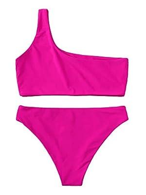 SweatyRocks Women's Sexy Bikini Set Solid Color Swimwear One Shoulder Bathing Suits Hot Pink S