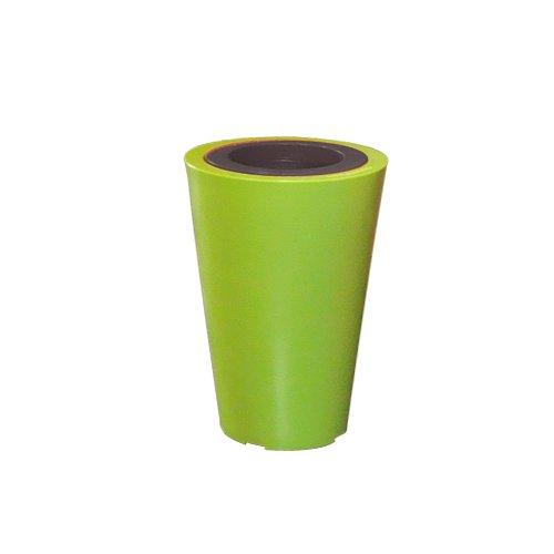 Green City Little Up Pot de Fleurs Rond + Anneau Résine/Plastique Vert Anis/Anthracite