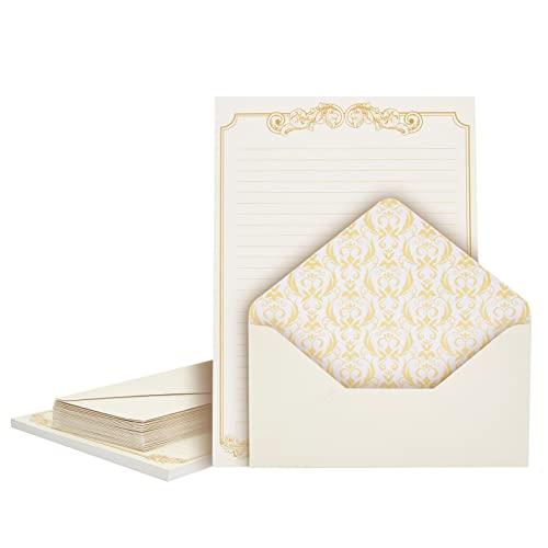 Vintage Briefpapier mit Umschlägen (Set, 60 Blatt, 30 Umschläge) - Liniert, Mit Goldfolien-Bordüre